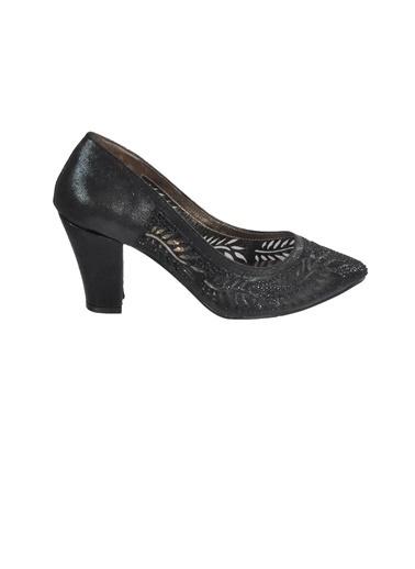 Mhd 006 Platin Kadın Topuklu Ayakkabı Siyah